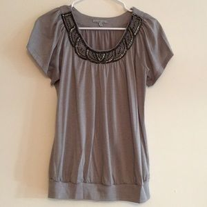 Maurices Gray Jewel Embroidered Top
